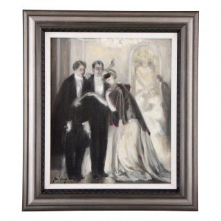 Art Deco painting of a 1920s masquerade ball scene
