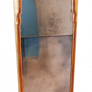 Antique Early 18th Century Walnut And Gilt Pier Mirror
