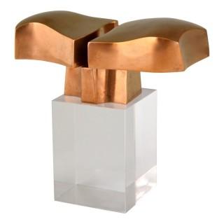 Bronze abstract sculpture on plexiglass base.