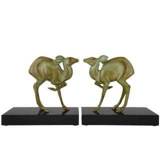 Art Deco bronze deer bookends.