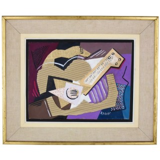 Music, cubist collage with guitar and staff paper.