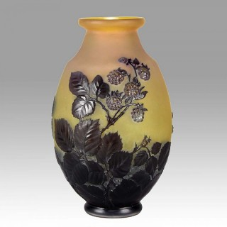 Art Nouveau Blackberry Soufflé Vase by Emile Gallé