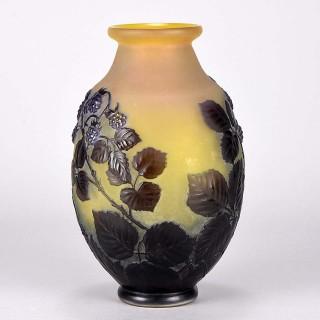 Art Nouveau Blackberry Soufflé Vase by Emile Gallé