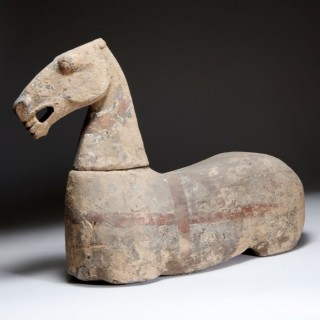 RARE POTTERY FIGURE OF A HORSE – HAN DYNASTY (206 BC-AD 220)