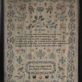 Antique Sampler, c.1830, Mary Ann Papworth, On Britain