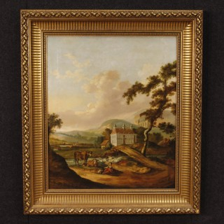 Dutch Painting Landscape With Characters And Architectures Oil On Canvas From 19th Century