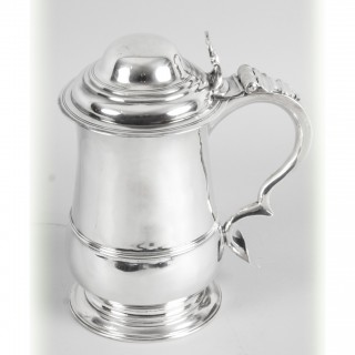 Antique English George III Sterling Silver Tankard 1762