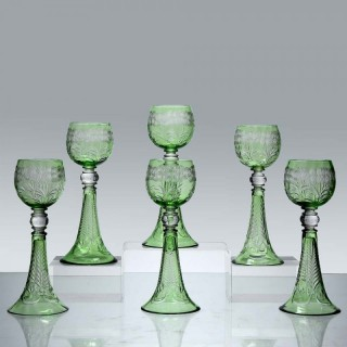Art Deco Set of Six Hock Glasses by Webb & Co