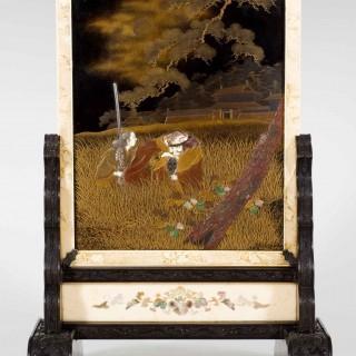 FABULOUS JAPANESE GOLD LACQUER & SHIBAYAMA MINIATURE SCREEN-TSUITATE