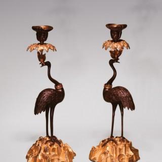 Pair 19th Century bronze and ormolu 'Abbott' stork Candlesticks