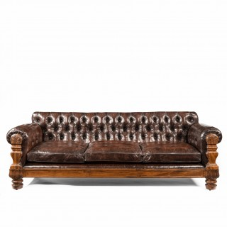 George IV mahogany deep buttoned leather sofa