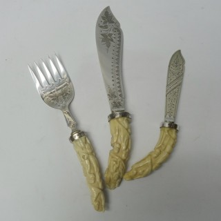 Antique Silver Plate and Ivory Serving Cutlery