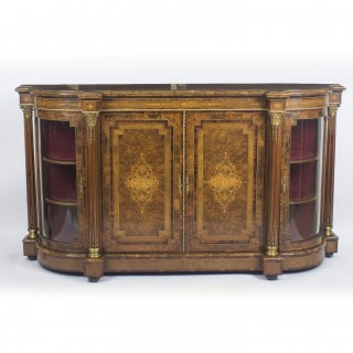 Antique Victorian Burr Walnut Inlaid Credenza Side Cabinet c.1860