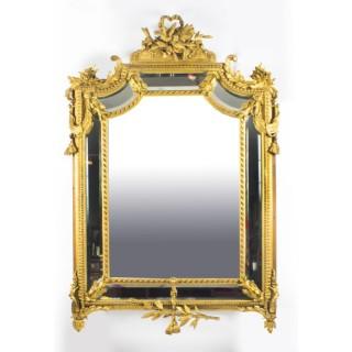 Antique Giltwood Louis Revival Overmantel Cushion Mirror c 1870 104 x 151 cm