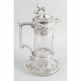 Antique Victorian Silver Plate & Cut Crystal Claret Jug by Elkington & Co 19th C