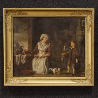 French Interior Scene Painting Oil On Panel From 19th Century