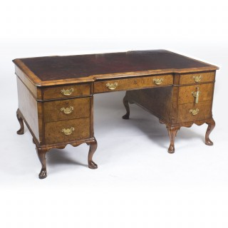 Antique Burr Walnut Partners Pedestal Desk in Queen Ann Style C1900