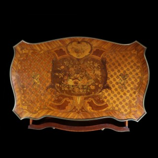 NAPOLEON III LOUIS XV STYLE MARQUETRY DESK BUREAU PLAT
