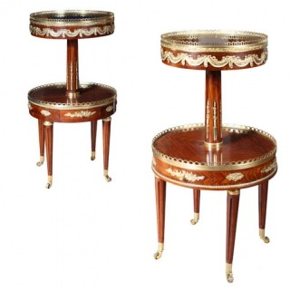 MATCHED PAIR OF TWO TIER END TABLES