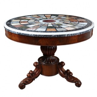WILLIAM IV MAHOGANY CENTRE TABLE WITH SPECIMEN MARBLE & GRANITE TOP