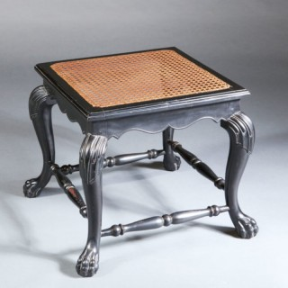 INDIAN CARVED EBONISED STOOL