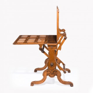 Fine Victorian walnut double action folio stand