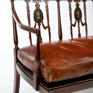 Fine Edwardian Inlaid and Neo Classical Style Painted Leather Settee.