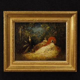 French Signed Painting Oil On Masonite Romantic Scene in Impressionist Style From 20th Century