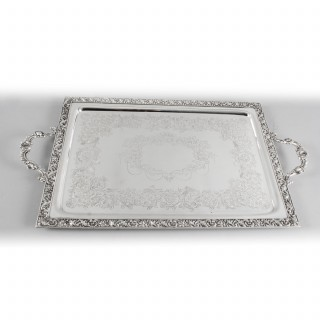 Antique Victorian Silver Plated Rectangular Tray C1880
