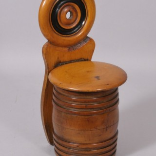 Antique Treen Fruitwood Salt Box