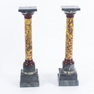 Antique Pair Italian Marble Grand Tour Doric Columns c. 1890