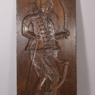 Antique 19th Century Large Oak 'Gingerbread Mould' Panel