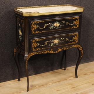 French Commode In Lacquered And Painted Wood With Marble Top From 20th Century