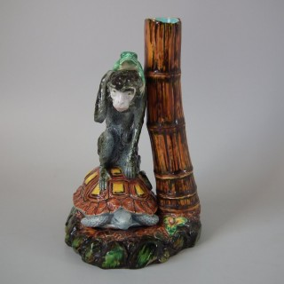 Worcester Majolica Frog, Monkey and Tortoise Vase