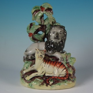 Staffordshire Pottery Lion and Tiger Group