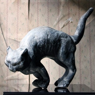 A Marvellous Early to Mid 20thC Lead Sculpture of a Cat