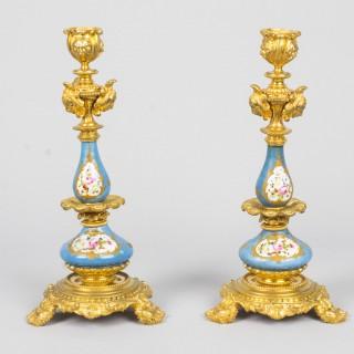 Antique Pair Sevres Porcelain Ormolu Candlesticks c.1870