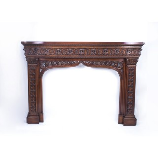 Early 20th Century Neo Gothic Carved Mahogany Chimney Piece Fire place