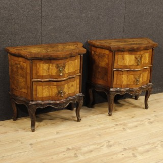 Pair Of Venetian Commodes In Walnut, Burl And Rosewood With 2 Drawers From 20th Century