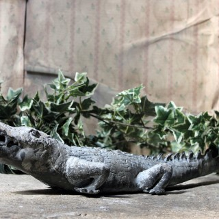 A Charming Early to Mid 20thC Lead Sculpture of a Crocodile
