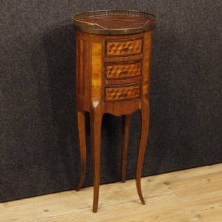 French Inlaid Side Table In Mahogany, Maple, Walnut, Rosewood With Marble Top 20th Century