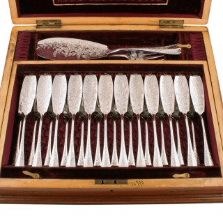 Victorian Silver Plated Fish Set