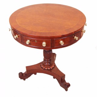 Antique Regency Mahogany Drum Table