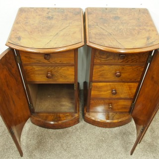 Pair of Victorian Burr Walnut Bow Fronted Bedsides