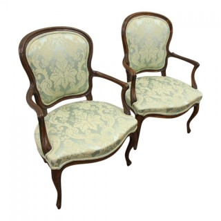 Pair of Louis XV Walnut Armchairs