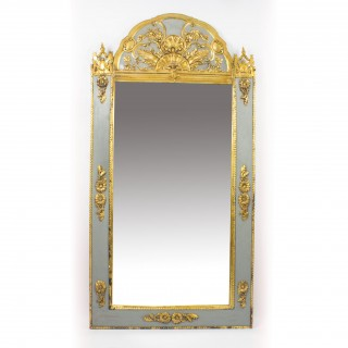 Antique French Giltwood & Grey Painted Overmantel Mirror 19th C - 176x91cm