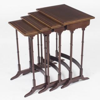 Antique Edwardian Mahogany Quartetto Nest of 4 Tables c.1910