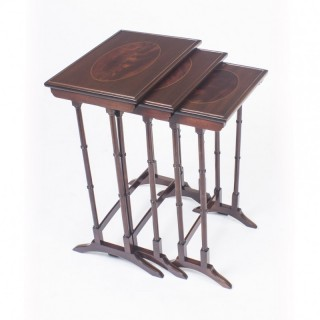 Antique Victorian Mahogany & Inlaid Nest of 3 Tables c.1880