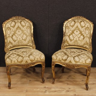 Pair Of French Lounge Chairs In Gilt Wood And Damask Velvet From 20th Century