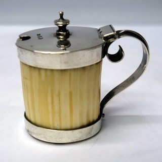 Victorian Silver and Ivory Mustard Pot